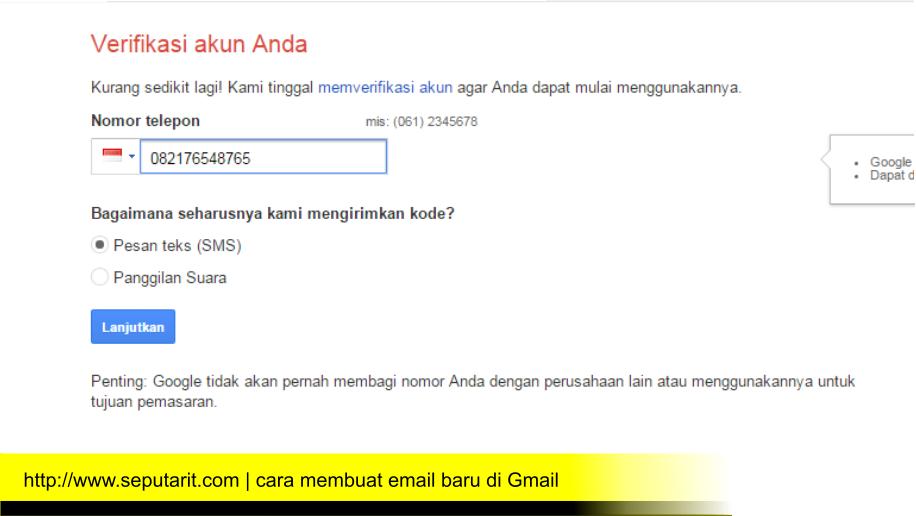 www.seputarit.com | kode verifikasi akan dikirim saat daftar email baru di gmail