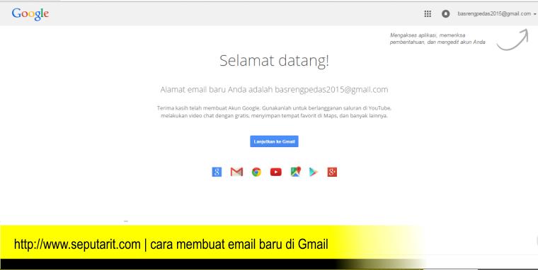 www.seputarit.com | tampilan berhasil pendaftaran email baru di gmail