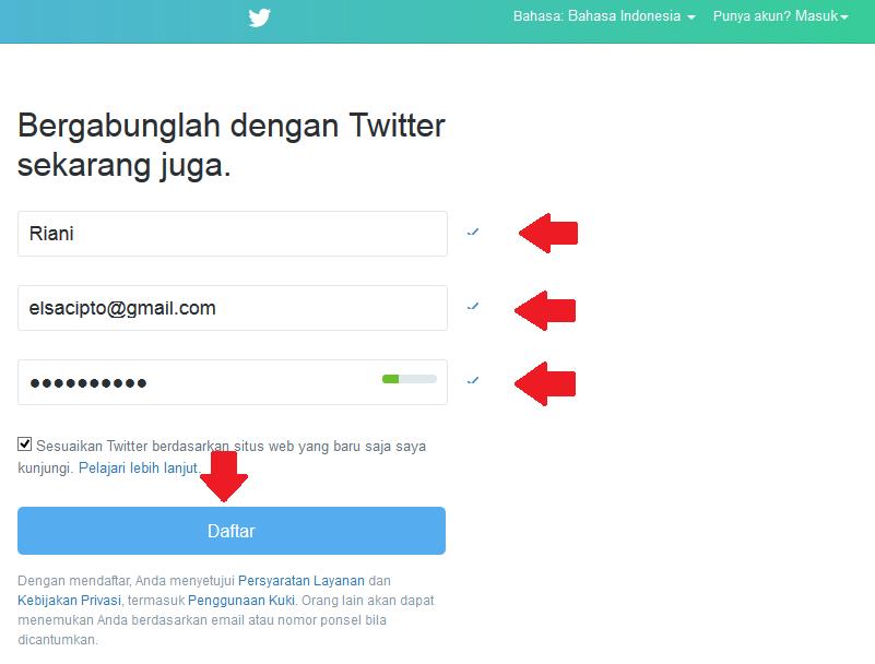 langkah kedua dalam mendaftar twiter