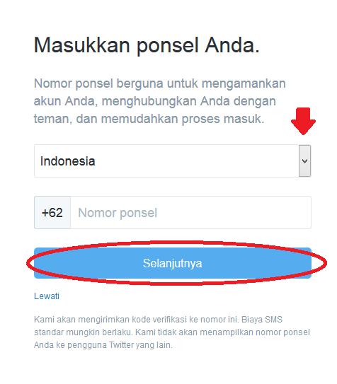 llangkah ketiga dalam mendaftar twiter