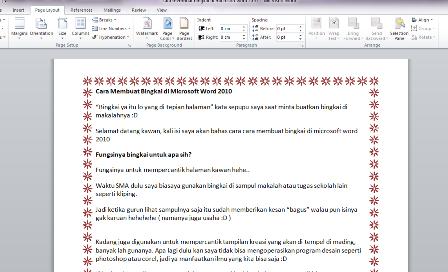 tutorial Cara Membuat Bingkai di Microsoft Word 2007 2010