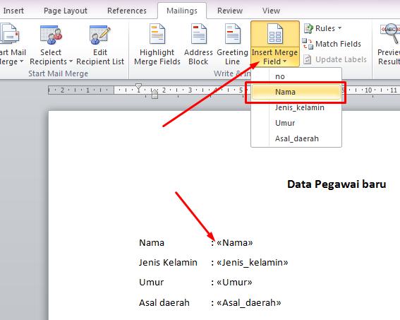 langkah langkah menggunakan mail merge untuk surat masal ini dia