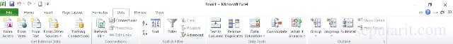 Fungsi icon dan menu pada microsoft excel 2010