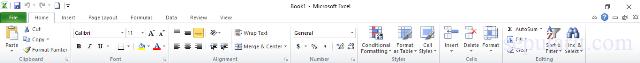 nama-nama menu dan icon microsoft excel 2010