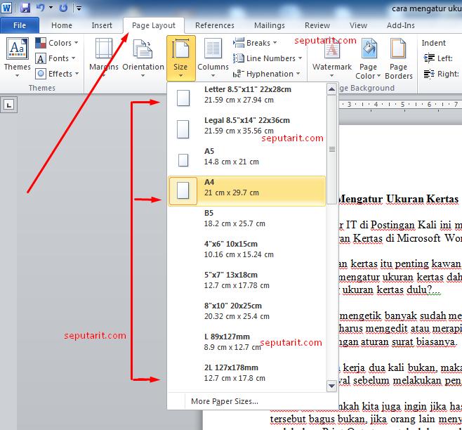 inilah cara mengatur ukuran kertas di microsoft word 2010 Menjadi CM
