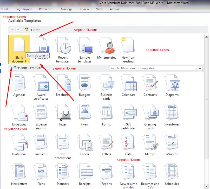berikut Cara Membuat Dokumen Baru Pada Microsoft office word