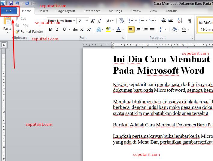 inilah Cara Membuat Dokumen Baru Pada Microsoft word