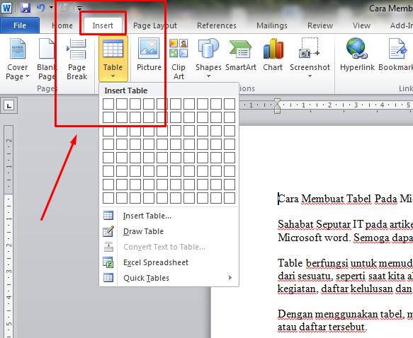 ini dia Cara Membuat Tabel Pada Microsoft Word