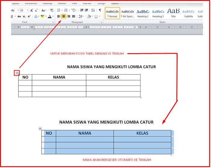 ini juga Cara cepat Membuat Tabel Pada Microsoft Word