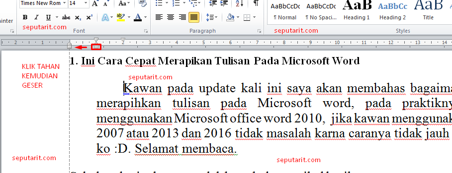 ini tentang cara merapihkan ketikkan pada microsoft word