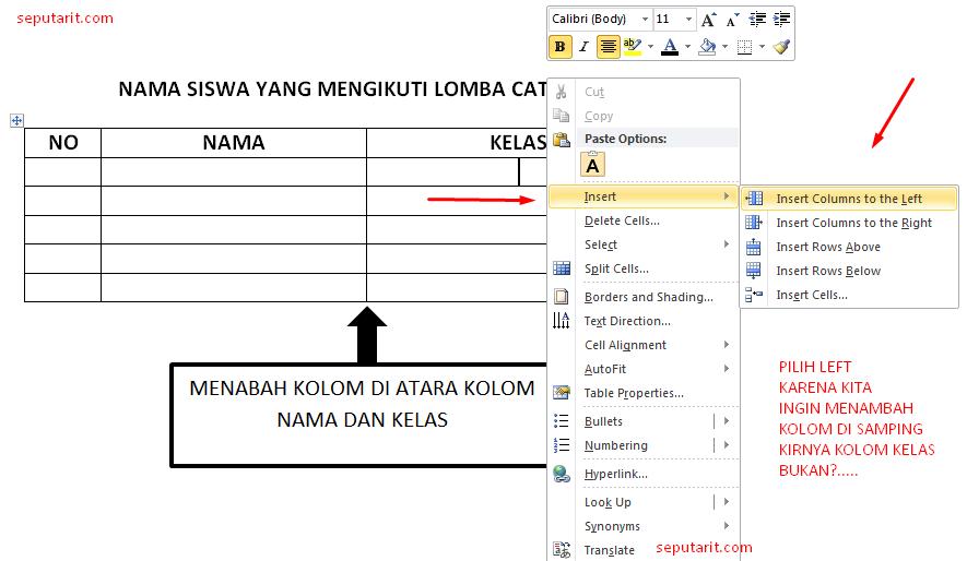 ternyata ini cara mudah menambah kolom tabel ke kiri di microsfot word