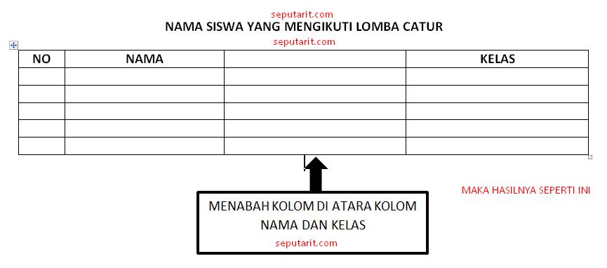 berikut hasil cara menambah kolom tabel ke kanan di microsfot word