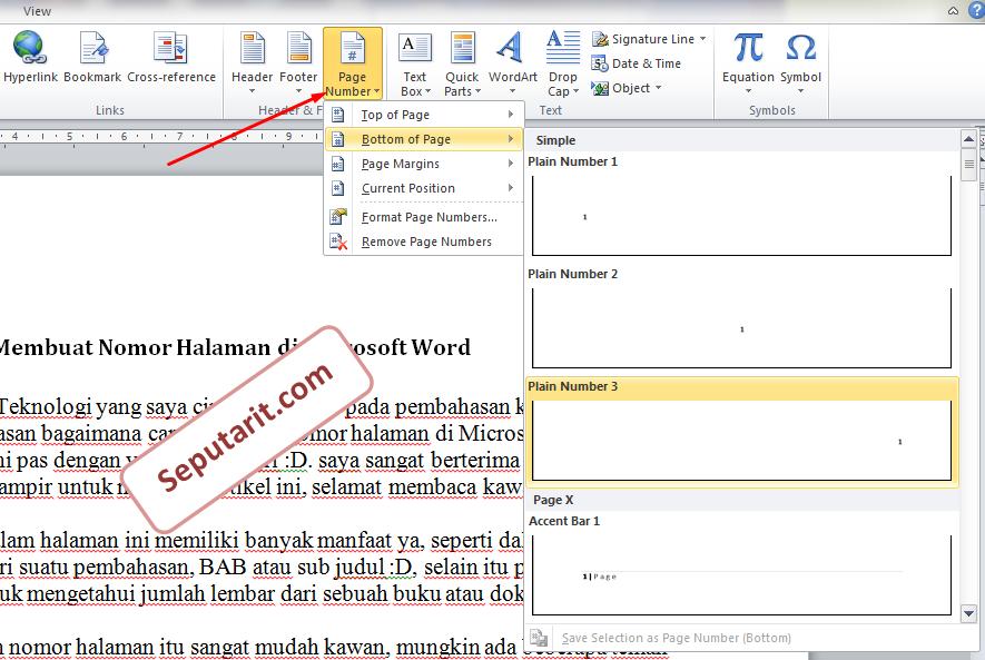 Cara Membuat Nomor Halaman di Microsoft Word