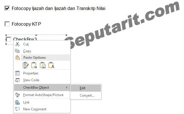 Cara Membuat Check box di Microsoft Word