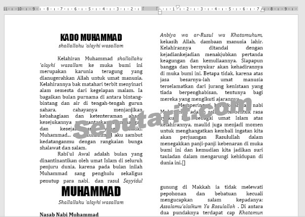 berikut panduan Cara Membuat columns di Microsoft Word