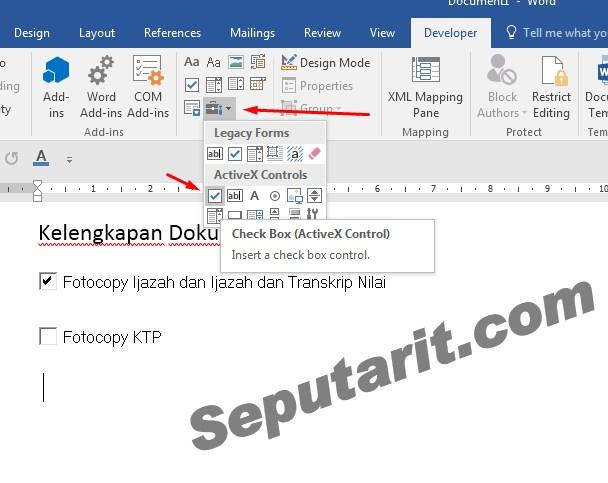 ini dia Cara Menambahkan Checkbox di Microsoft Word