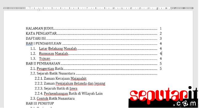 ikuti Cara Membuat Daftar Isi Secara Manual di Word dengan titik titik otomatis