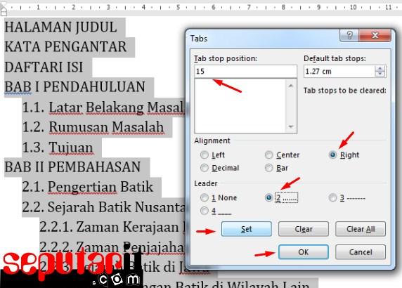 ini juga cara Membuat Daftar Isi Secara Manual di MS Word
