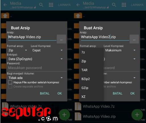 gambar panduan memperkecil atau kompres file di android