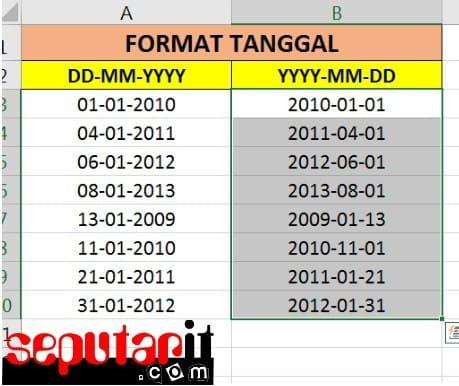 ini juga format tanggal di excel tidak bisa diubah