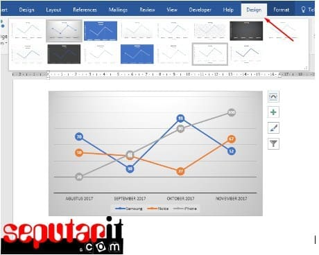 tampilan mengubah data ke dalam grafik dengan mudah di word