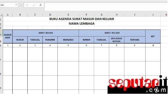 silahkan Contoh Format Buku Agenda Surat Masuk dan Keluar Dengan Microsoft Excel kantor sekolah