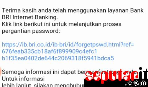 dan ini cara forgot password bri internet bangking.