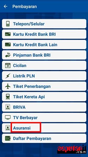 tampilan yang dapat di akses melalui M-banking