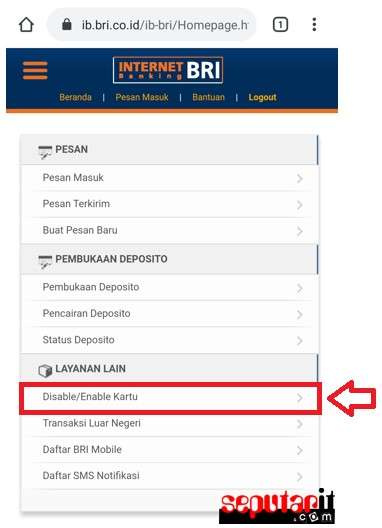 ini cara enable disable kartu atm bank bri