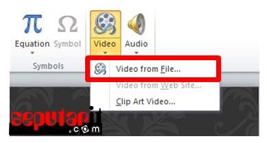 masukkan video dari menu insert