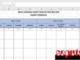 Contoh Format Buku Agenda Surat Masuk dan Keluar Dengan Microsoft Excel kantor sekolah